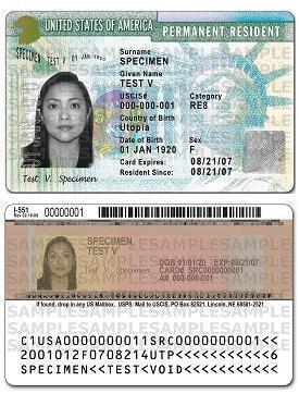 sample green card