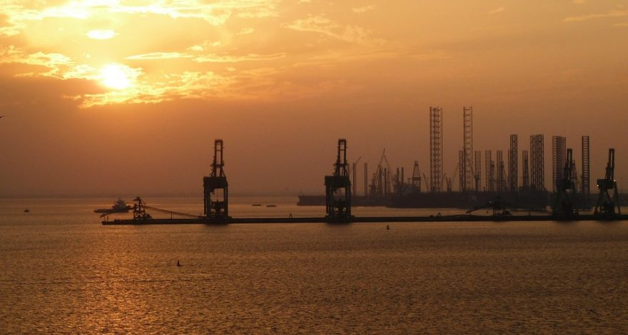 industrial Bahrain at sunset