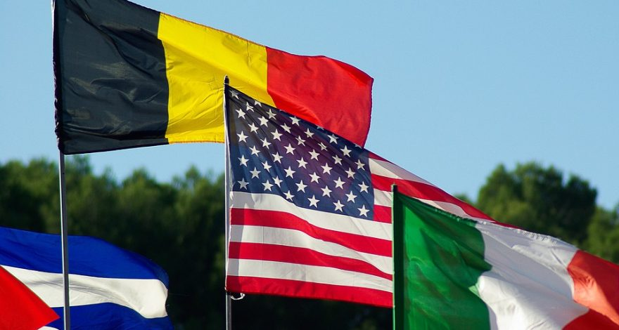 flags from several countries including the USA, Germany and Italy