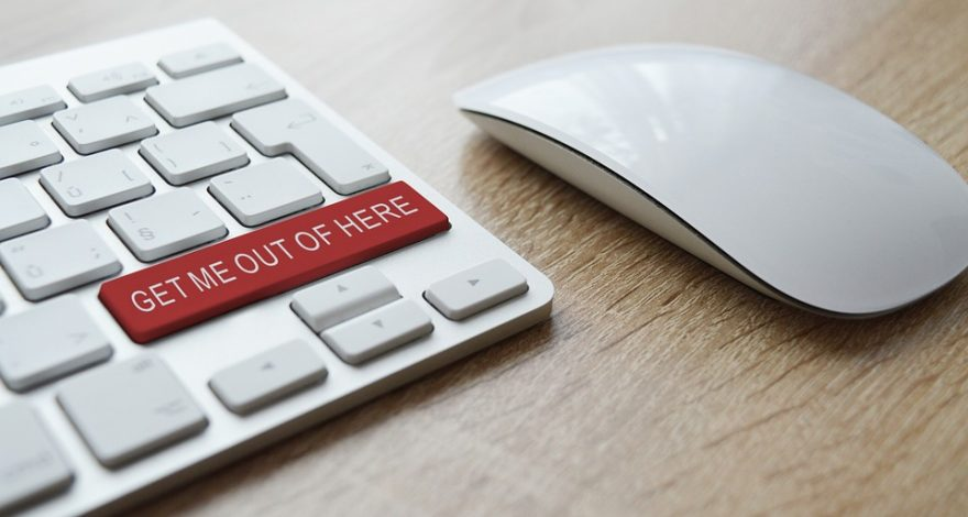 computer keyboard featuring a 'get me out of here' key