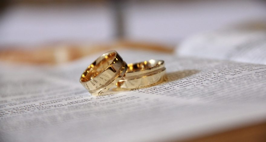 marriage rings on top of a bible