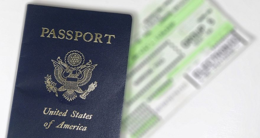 US passport and plane ticket