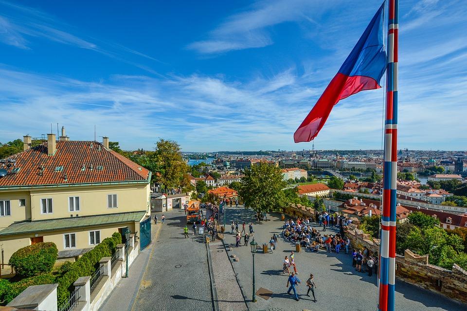 Prague street with Czech flag