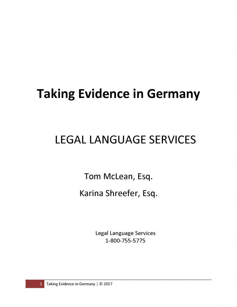 Cover of Taking Evidence in Germany Monograph